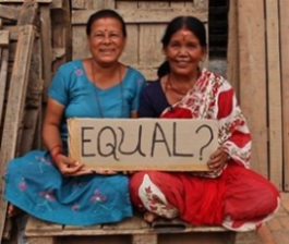 Women in Nepal holding an equal sign