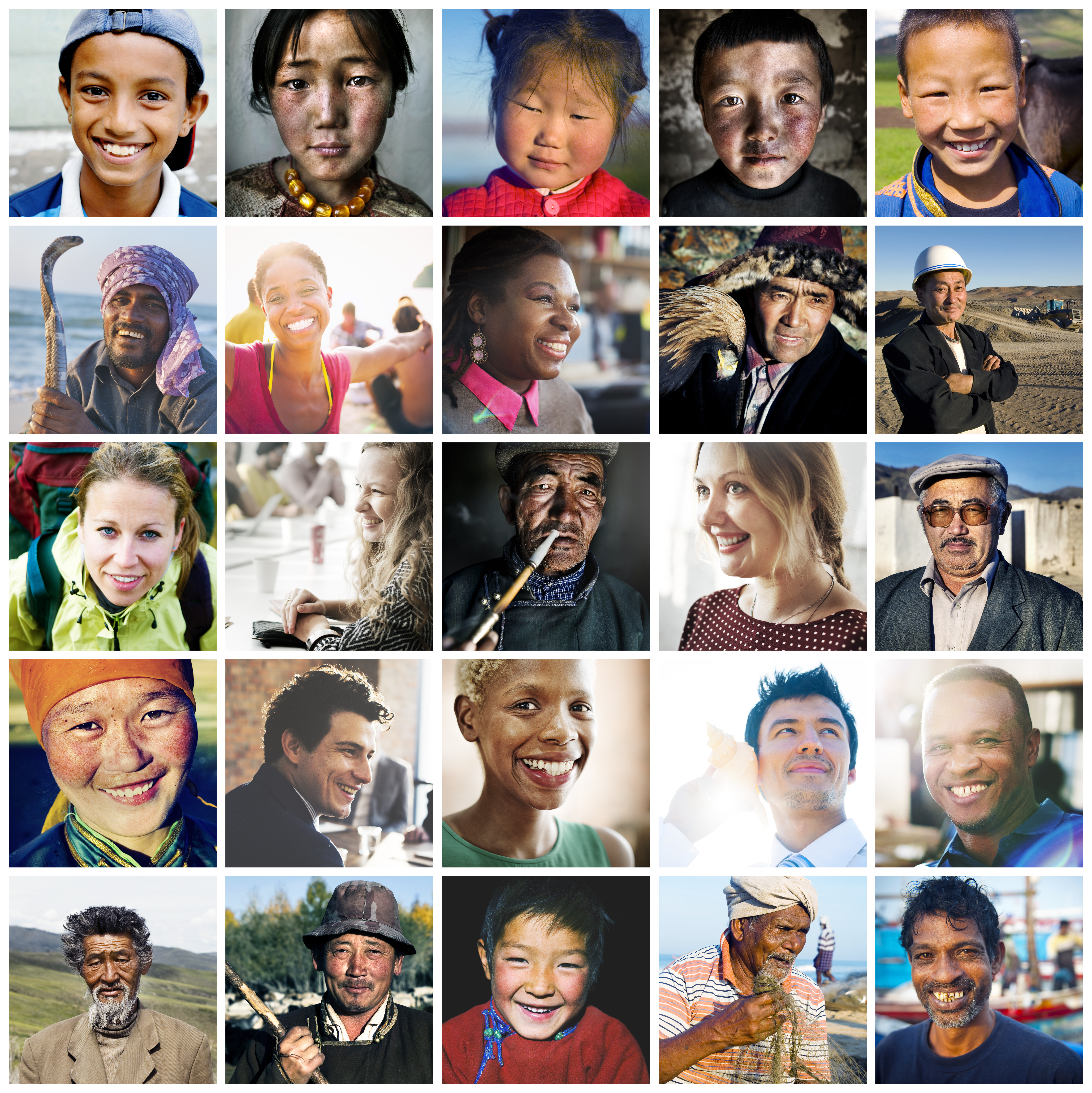 Photo Collage of Diverse People from Around the World