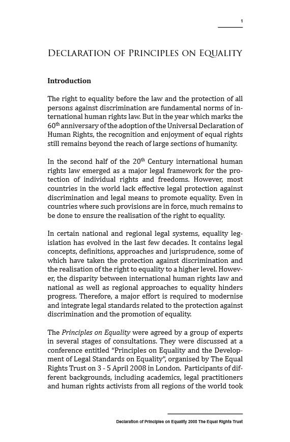Declaration of Principles on Equality Page 1