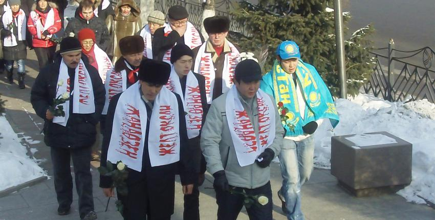 Commemoration march remembering victims of the Zhanaozen massacre, Kazakhstan
