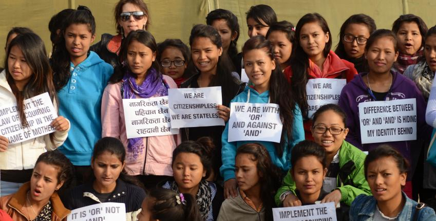 Women and girls campaign in Nepal against gender discriminatory nationality laws