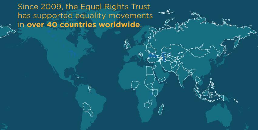 Map showing all the countries the Trust has supported equality movements in